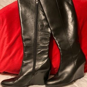 Black leather tall wedges boots